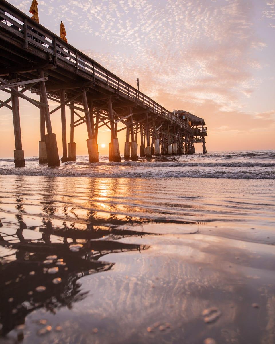 Sunrise at Cocoa Beach pier.