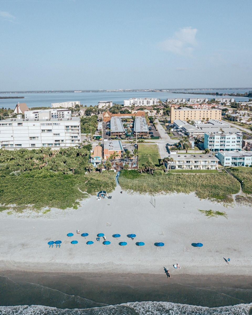 Drone shot of Westgate Cocoa Beach Resort including the beach concierge area.