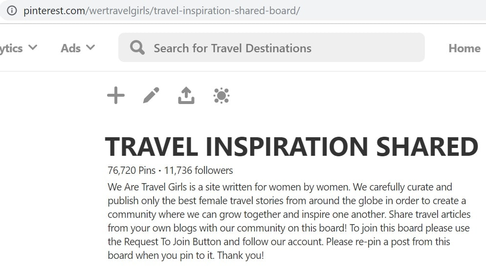 To join a group board, look at the description or find the owner through the URL after Pinterest.com