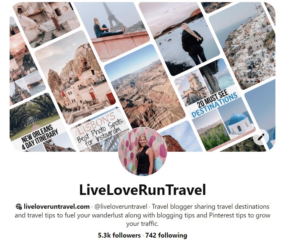 Pinterest bio for Live Love Run Travel