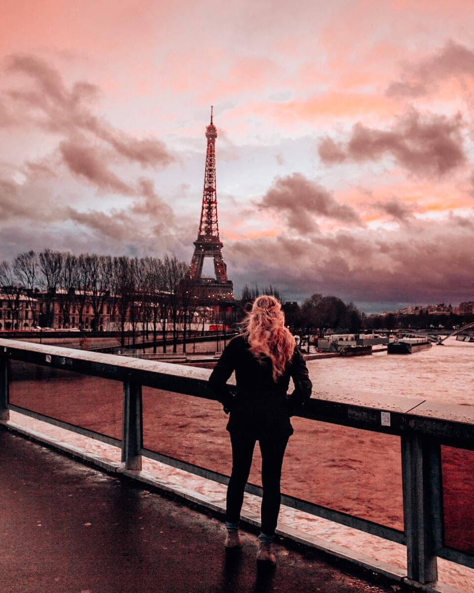 The best sunset in Paris is at the Pont de l'Alma with the Eiffel Tower view. Get a full guide to New Year's in Paris here.