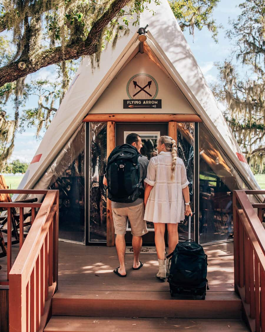 Eagle Creek backpacks on a couple camping in Florida