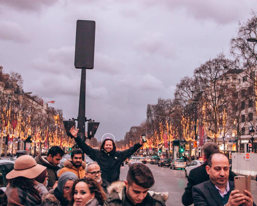 The crowd on Champs Elysees in Paris in winter