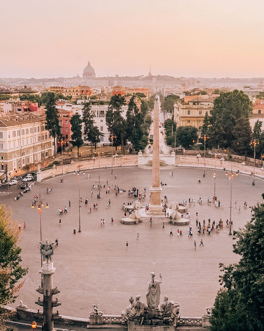 View of a piazza in Rome at sunset