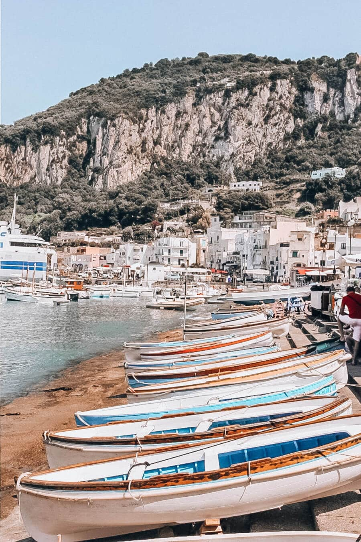 Boats lining the shore on Capri in Italy