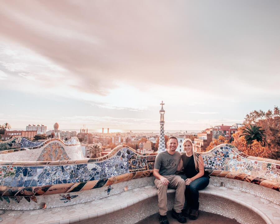 A couple in the Greek Theater at Park Guell at sunrise