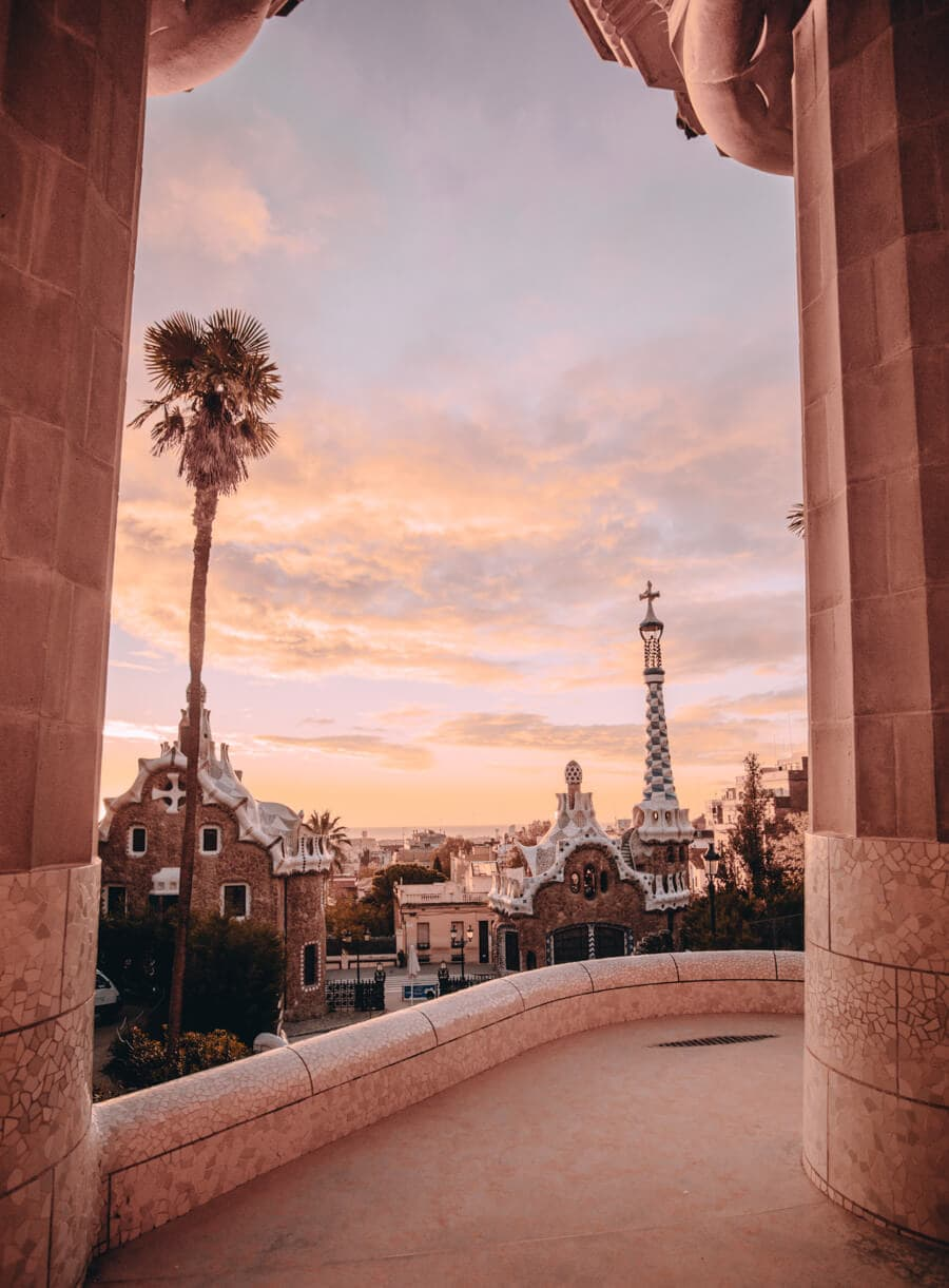 The Hypostyle Room in Park Guell Barcelona at sunrise