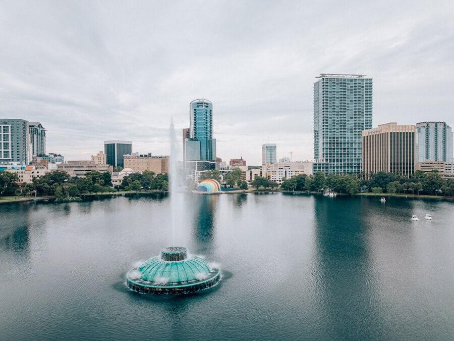 Aerial shot of Lake Eola and downtown Orlando skyline