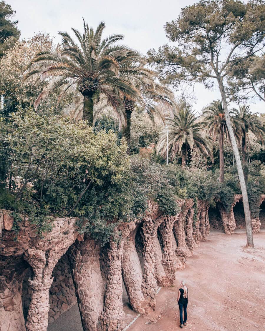 The view of the Laundry Room Portico in Park Guell from above