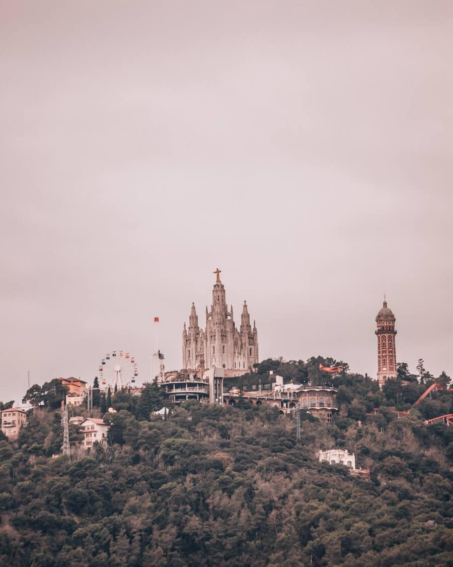Mount Tibidabo from Park Guell at the Les Tres Creus viewpoint
