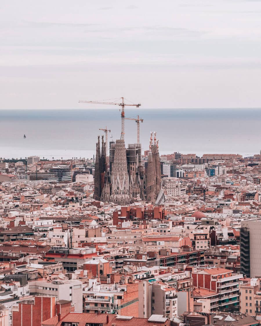 La Sagrada Familia from the viewpoint at Les Tres Creus in Park Guell