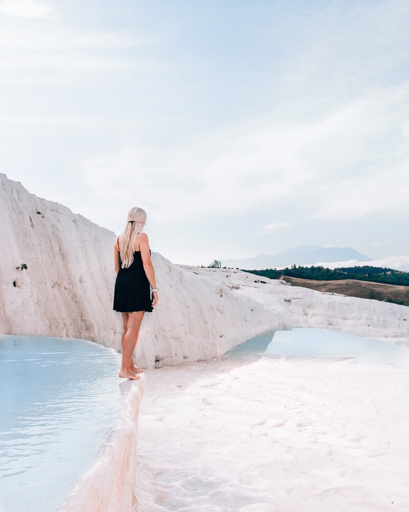 Pamukkale thermal pools in the morning