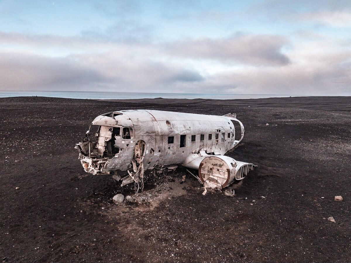 A drone shot of the Sólheimasandur plane wreck in Iceland