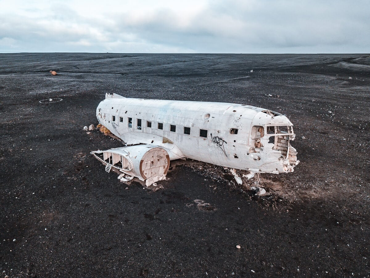 A drone shot of the Iceland plane crash