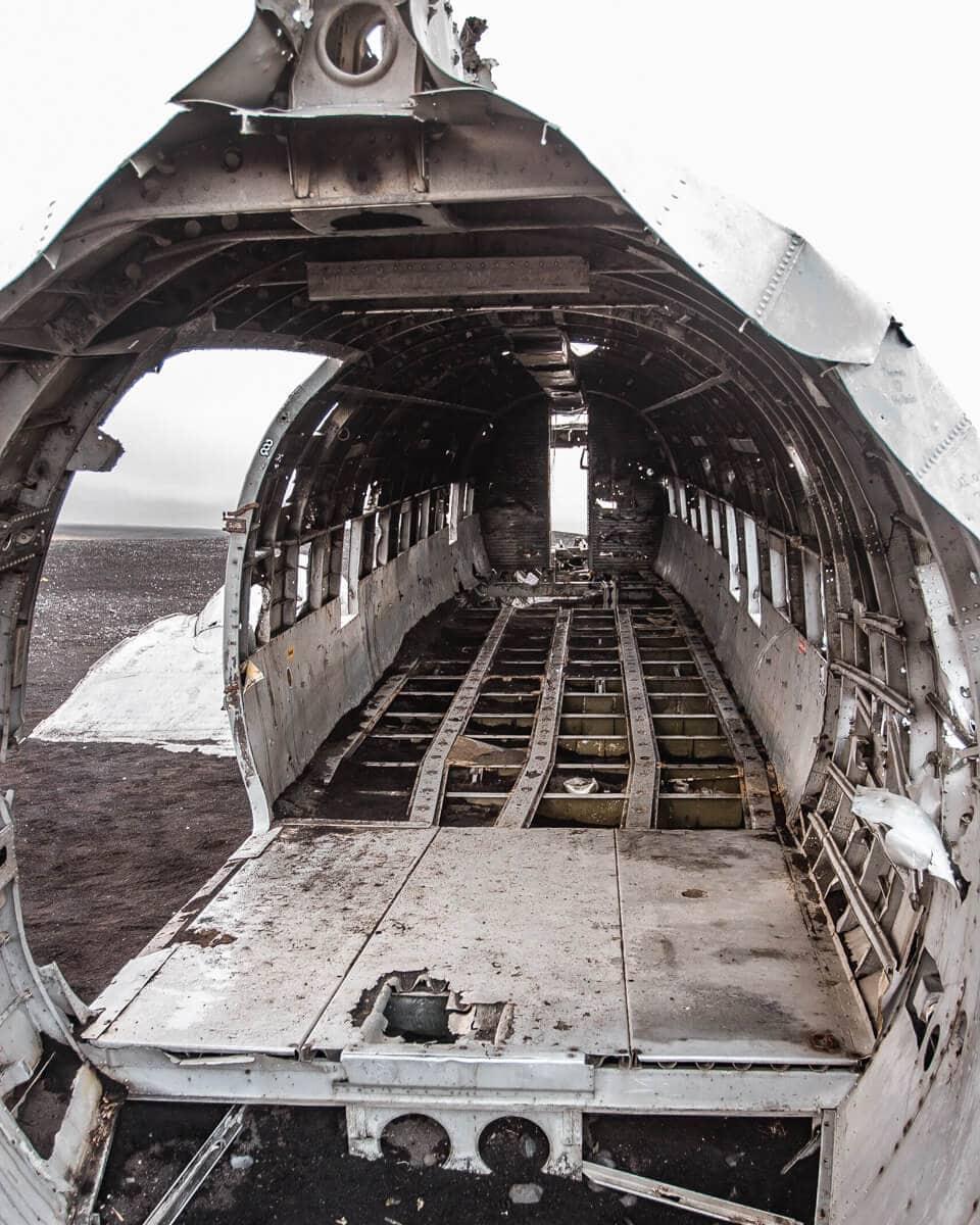 The inside of the Sólheimasandur plane wreck in Iceland