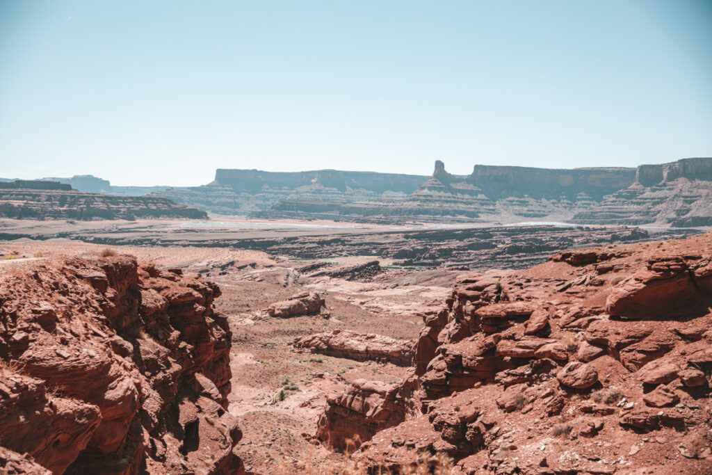 view of potash ponds from chicken corners ohv trail in moab