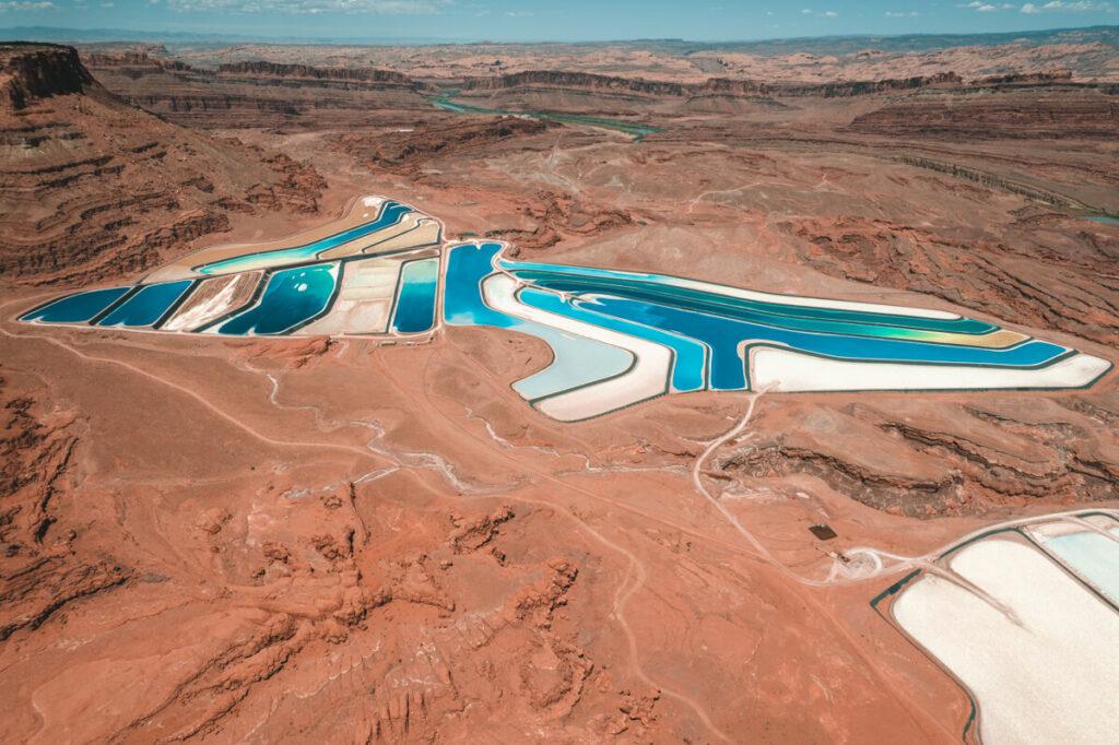 drone photo of the moab potash ponds