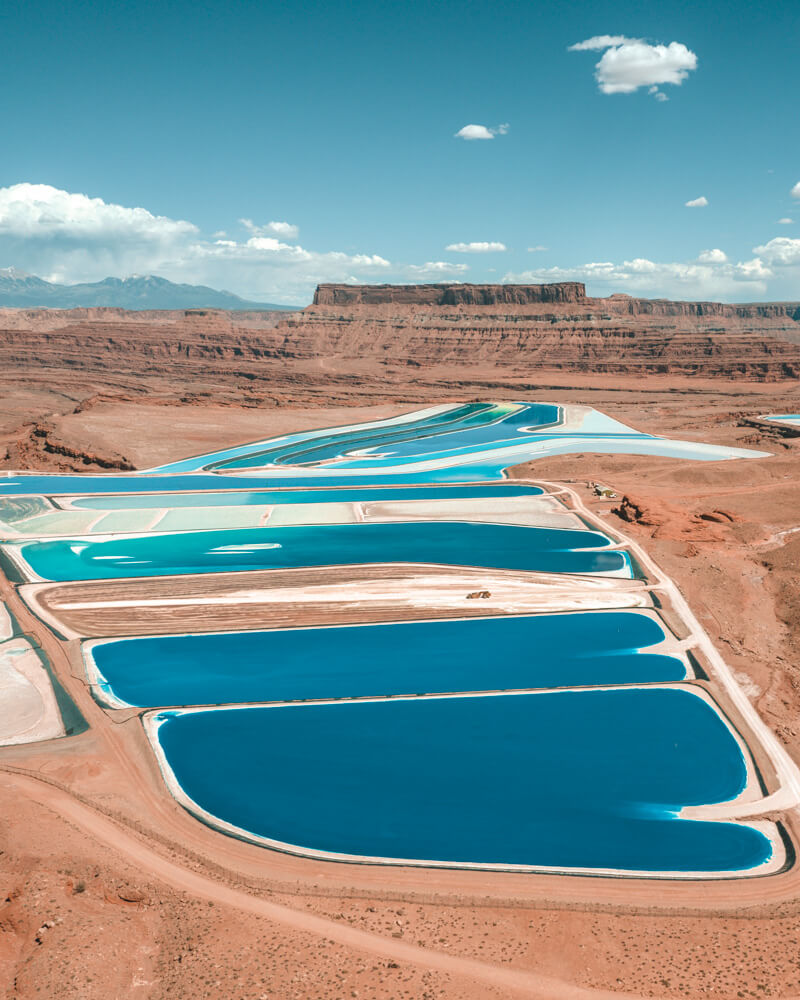bright blue pools in moab at the potash ponds