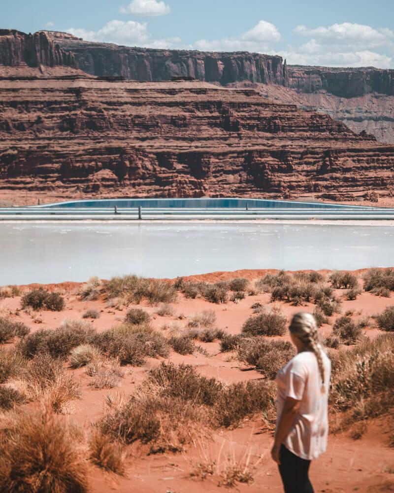 woman at the moab potash ponds